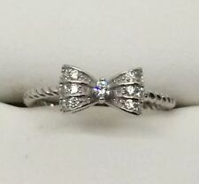 Gorgeous CZ SOLID sterling Silver Bow / Ribbon Ring Sz 10
