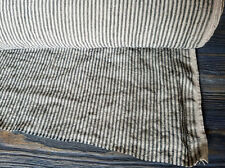 Natural linen fabric, striped softened linen medium weight fabric, bedding linen