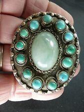 Or Amazonite Silvertone Pendant Vintage Ethnic Real Turquoise Jade