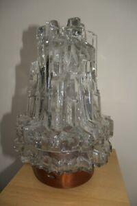 Crystal Glass Icicle Light copper top Retro Rare Brutalist Hillebrand? 1960s