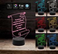 Lampada a led 7 colori PERSONALIZZABILE con frase Idea Regalo per San Valentino