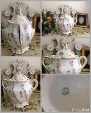 sucrier ancien en porcelaine de limoges Rose Feuille D'acanthe