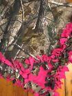 CUSTOM FLEECE TIE-BLANKET Warm Reversible REALTREE Camouflage Hot Pink 60X54