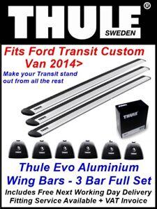 3 X THULE EVO ROOF BARS ALUMINIUM WING BARS FIT FORD TRANSIT CUSTOM CAMPING 14>