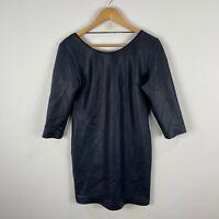 Mademoiselle Lola Womens Dress Medium Blue Textured Long Sleeve Scoop France