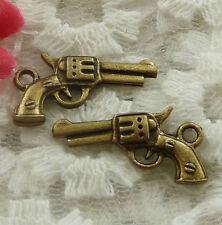 free ship 70 pieces bronze plated handgun charms 21x12mm #2260