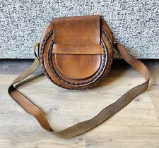 Vintage Brown Leather Horse Shoe Design Bag- Shoulder Bag- Indie- Strong