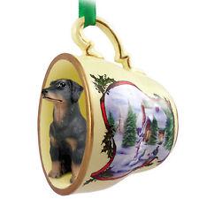 Doberman Pinscher Christmas Teacup Ornament Blk Uncrop