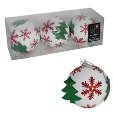 Christmas Decorations 3 Pack 80mm White Glitter Baubles with Green Trees