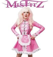 Misfitz pink rubber latex padlock maids dress sizes 8-32 or made to measure TV