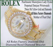 ROLEX LADIES PEARLMASTER MASTERPIECE WATCH 18kYG FULL FACTORY DIAMONDS 29mm