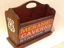 Route 66 Hand Painted Vintage-Look Wooden Magazine Stand Rack