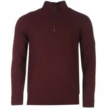 Firetrap Quarter Zip Knit Jumper Burgundy Medium TD085 DD 03