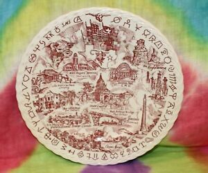 """Vintage 10.5"""" Vernon Kilns® U.S.A. Collector Plate: The State of TEXAS"""