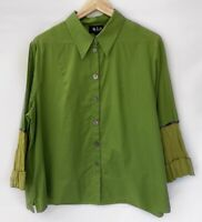 NICOLA WAITE Green Long Sleeve Button Front Collared Shirt Blouse Size 4 16