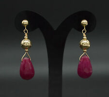 New 14K Solid Gold Natural 12x 8 Ruby Bead Drop Earrings