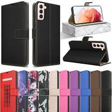 Für Samsung Galaxy S21 5G Schutzhülle, Leder Stand Hülle Telefon + Displayschutz