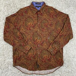 Vintage 90s Tommy Hilfiger Men's Rayon Wool Paisley Long Sleeve Button Up Shirt