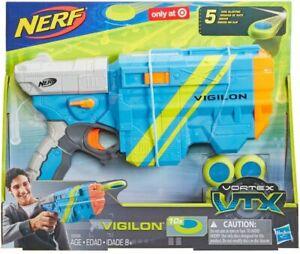 Brand New NERF Vortex VIGILON VTX Disc BLASTER Blue