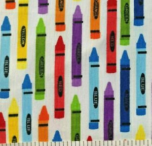 Colorful Crayons on White for School - Quilt Fabric - Yard