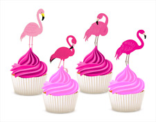 #667. Pink Flamingo EDIBLE Wafer Cupcake Cake Toppers Decorations