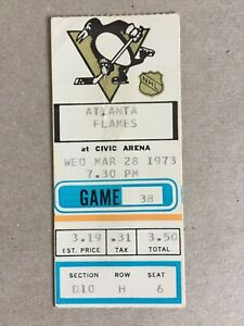 1973 NHL TICKET STUB ATLANTA FLAMES @ PITTSBURGH PENGUINS   3/28/73  CIVIC ARENA