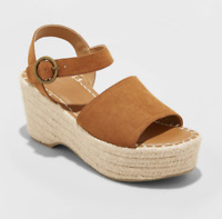 Womens' Morgan Microsuede Two Espadrille Wedge Pumps Universal Thread Size 9.5*