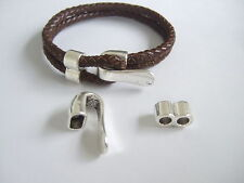 5 Sets Antique Silver Bracelet Clasp Findings For 2 Strands of 5mm Round Leather