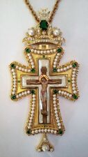 Orthodox Pectoral Cross Gold Plated Engolpion Pendant Zircon Clergy Bishop new