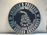 """AMERICA'S FREEDOM ~ RIGHT TO BEAR ARMS ~ THE SECOND AMENDMENT 12"""" ROUND SIGN"""