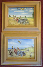 "Two Trevor Mitchell Wartime Farming Pine framed prints ""Haymaking 1940 & another"