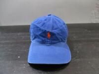VINTAGE Ralph Lauren Polo Hat Cap Blue Orange Pony Strap Back Adjustable Mens *