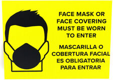 Face Mask Covering Must Be Worn to Enter sign yellow PVC 8x10.5 English/Spanish