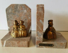 Vintage Holland 1945 Brass / Bronze Marble Traditional Dutch Couple Bookends