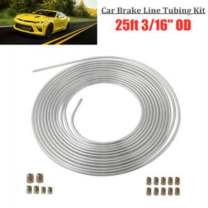 Universal Brake Line Tubing Kit 3/16'' OD 25ft Coil Roll with all Size Fittings