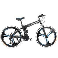 "26"" Folding Mountain Bike Shimano 21 Speed Bicycle Full suspension MTB School B"