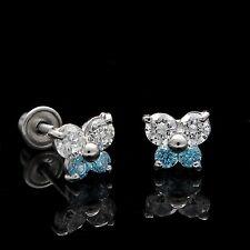 0.25CT Round Diamond & Topaz Butterfly Stud Earrings 14k White Gold Screwback