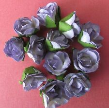 20 Paper Flowers Purple with Green Leaf 25mm - Card Making & Scrapbooking NEW