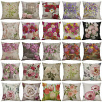 LINEN ROSE PEONY TULIP FLOWER PILLOW CASE CUSHION COVER SOFA BED CAR DECOR ORNAT
