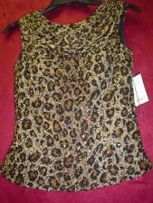 Sean Collection NWT Beaded Silk Animal Print Draped Front and Back Blouse S