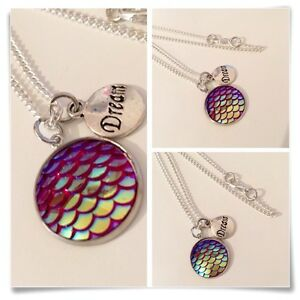 Mermaid charm pendant necklace dream mermaids holographic