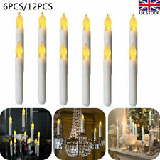 6/12pcs LED Flameless Taper Flickering Battery Candles Light Party Decor 6.5inch