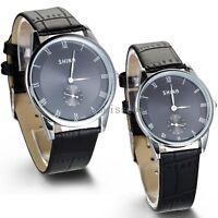 Mens Womens Black Leather Band Quartz Analog Dress Bracelet Quartz Wrist Watch