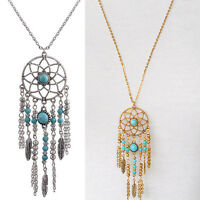 Women Fashion Retro Turquoise Feather Tassel Pendant Long Chain Necklace Jewelry