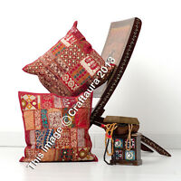 "Indian Pillow Patchwork Embroidered Handmade Throw Pillow Cushion Cover 16"" Pair"