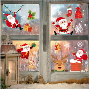 Christmas Glass Sticker Window Decoration Santa Claus Snowman Elk Print Sticker