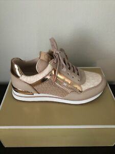 NIB $165 Michael Kors Maddy Soft Pink/Ballt Mixed Media Trainer Sneakers Sz 7M