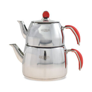 Türkischer Teekanne Edelstahl INDUKTION 2,4 Liter Caydanlik Set Tee Kanne Rot