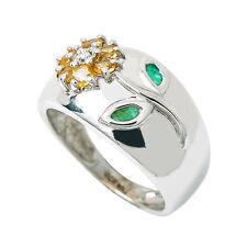 10K White Gold Diamond Citrine Emerald Flower Ring 4.1 Grams Ring Size 6