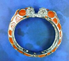 Chicos Bracelet Snake Serpent Reptile Heads Orange Enamel Rhinestones Clamper